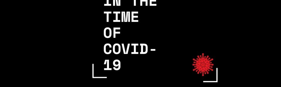 Logo for ethics in the time of COVID19 with letters in all caps and a red dot that is in the shape of the covid virus