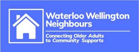 Blue Waterloo Wellington Neighbours logo with a simple drawing of a house in a white square outline